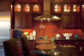 KitchenDelectable Exposed Brick Wall Kitchen Idea With Cabinet Lights Also Bar Counter Delectable