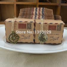 Vintage Rustic Wedding Supplies 100pcs Air Mail Kraft Paper Candy Box Travel Theme Party Favors