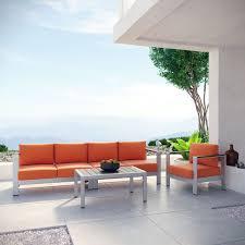 Shore 4 Piece Outdoor Patio Aluminum Sectional Sofa Set Silver Orange By Modern Living