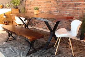 Live Edge Acacia Dining Table With Black X Legs Honey Walnut