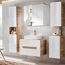 badezimmermöbel set mit keramik waschtisch luton 56 hochglanz weiß wo