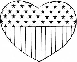 American Flag Coloring Print In Heart Shape