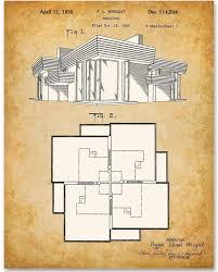 100 Frank Lloyd Wright Sketches For Sale Home Blueprint 11x14 Unframed Patent Print Makes A Great Gift Under 15 For Architects