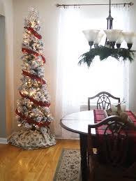 Skinny Flocked Tree In A Vintage Rustic Christmas Dining Room
