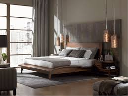 Exquisite Modern Bedroom Furniture Design Ideas Showing Rustic Style Solid Wood Bed With Slate Beck Splash And Fancy Hanging Lamp Also Cozy Lazy Chairs