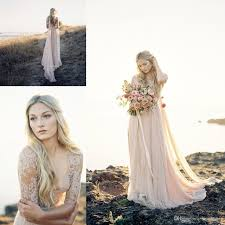 Bohemian Wedding Dresses With 1 2 Sleeves Plunging V Neckline Flowing Sheath Simple Rustic Country Style Blush Pink Boho Bridal Gowns 2017