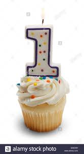 Cupcake with a Number e Candle Isolated on White Background