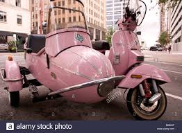 Pink Stella Motor Scooter With Sidecar Texas And Fannin Streets Downtown Houston