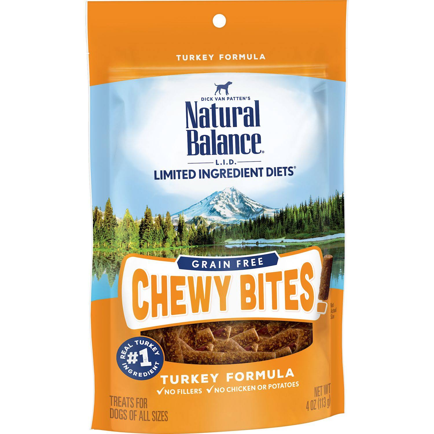 Natural Balance L.I.D. Limited Ingredient Diets Grain Free Chewy Bites Turkey Formula Dog Treats 4oz
