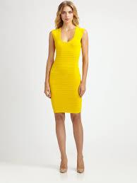 yigal azrouël techno knit dress in yellow lyst