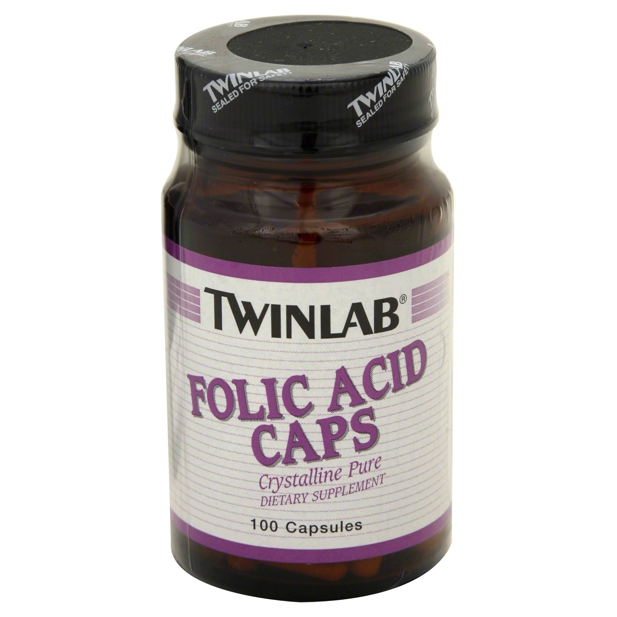 Twinlab Folic Acid - 800mcg, 100 caps