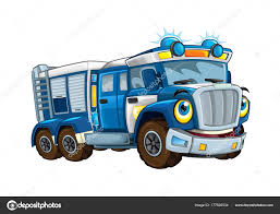 Cartoon Happy Funny Police Truck Isolated Truck Smiling Vehicle ...