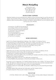 Server Resume Samples Example T Examples Download Sample Template Word Catering Description
