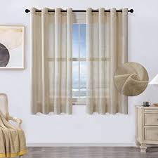 mrtrees voile gardinen kurz 2er set leinenoptik vorhang mit ösen im modernen stores gardinen schals braun 145 140 h b für wohnzimmer schlafzimmer