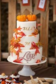 Fall Wedding Cake With Sugar Pumkin Topper