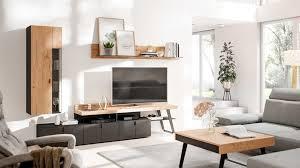 interliving wohnzimmer serie 2105 wohnwand in12 anthrazitfarbener lack balkeneiche anthrazitfarbenes metall vierteil