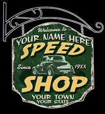 Vintage Speed Shop Personalized Sign