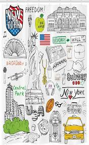 abakuhaus duschvorhang badezimmer deko set aus stoff mit haken breite 120 cm höhe 180 cm amerikanisch new york city skizze kunst kaufen