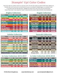 Today I Have The Updated RGB And Hex Color Code Chart For Our Exclusive Stampin Up Colors Including Brand New In