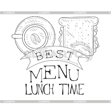 Best Cafe Lunch Menu Promo Sign In Sketch Style With Sandwich And Coffee Design Label Black White Template Monochrome Hand Drawn Promotional Poster