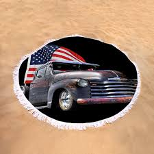 Rusty 1951 Chevy Truck With Us Flag Round Beach Towel For Sale By ...