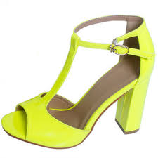 yellow t strap chunky heel sandals