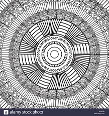 Mandala Géométrique Noir Et Blanc Décoration Ornement Rond Tribal