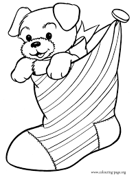 Have Fun Coloring This Awesome Picture Of A Cute Puppy Inside Christmas Stocking Just Print It