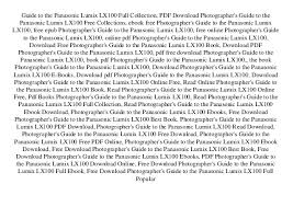 Guide To The Panasonic Lumix LX100 Full Collection PDF Download Photographers Free Collections