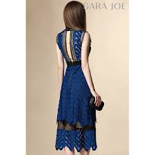 premium blue patterned lace dress