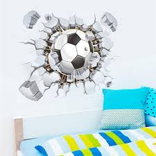 Flying Football 3d Wall Stickers Kids Room Decor Diy Home Decals Soccer Fans Gift Mural Art