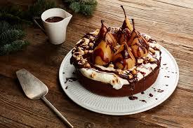 Spiced Hazelnut Pear Cake With Chocolate Sauce recipe
