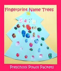 Christmas Tree Names by Fingerprint Name Tree Preschool Christmas Craft Preschool Powol