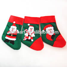 Small Green Santa Claus Sock Gift Bag Kids Christmas Decor Candy Bauble Tree Ornaments