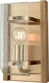 vindalia 1 light wall sconce with wood slats and curved glass