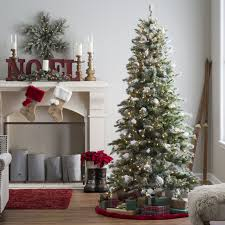 75 Ft Prelit Flocked Monteray Pine Christmas Tree With Snow