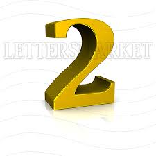 LettersMarket 3D Gold Number 2 isolated on a white background