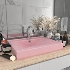 luxuriöses waschbecken mit hahnloch matt rosa 60x46 cm keramik