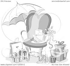 Clipart Of A Grayscale Bridal Shower Party Chair Umbrella And Gifts