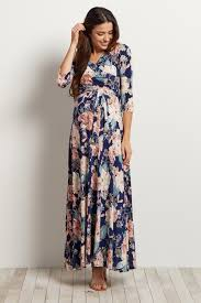 A Model Wearing Pink Blush Maternity Maxi Dress