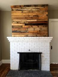 Pallet Fireplace Mantle Accent Wooden Wall