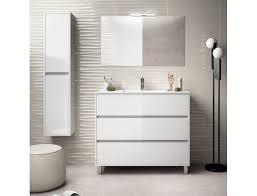 badezimmer badmöbel auf dem boden 100 cm aus glänzend weiß lackiertem holz mit porzellan waschtisch zubehör standard