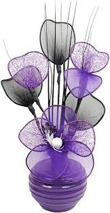 lila violett künstliche blumen mit pflaume vase deko wohnaccessoires deko geeignet für bad schlafzimmer oder küche fenster regal 32cm