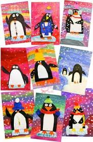 Colorful Penguin Art Project That Use Simple Supplies And Teaches A Bunch Of Techniques Such Cute Winter For Kindergarten First Grade