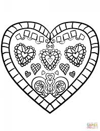 Coloring PageColoring Page Heart Decorated