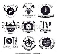Set Of Vintage Carpentry Tools Labels Design Elements Axes And Saws Logo Circular Saw