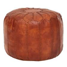 sitzhocker echtleder braun 52 x 40 x 52 cm ottomane wohnzimmer design pouf hocker orientalisch polsterhocker orient beinablage sofa