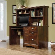 Cherry Brown Computer Desk With Hutch Furniture HomeOffice