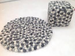 Small Round Bath Rugs by Gorgeous Thick Round Black Grey Cream Wool Felt Rug 90cm