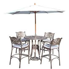 7 Piece Patio Dining Set With Umbrella by Hanover Hermosa 5 Piece All Weather Wicker Square Patio Bar Height